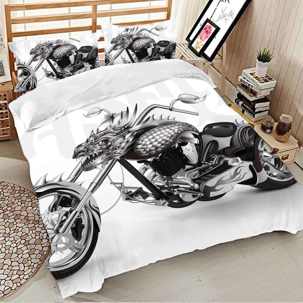 Dragon/motorcycle Bedding Set Twin Full Queen King sizes 3Pcs  Of Duvet Cover with Pillowcase Bedclothes