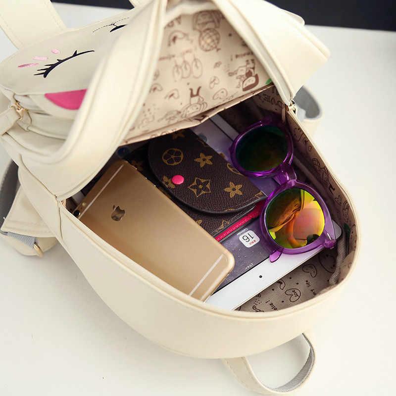Школьные рюкзаки с котом для девочек, забавная качественная модная женская сумка из искусственной кожи, рюкзак для путешествий, Mochila