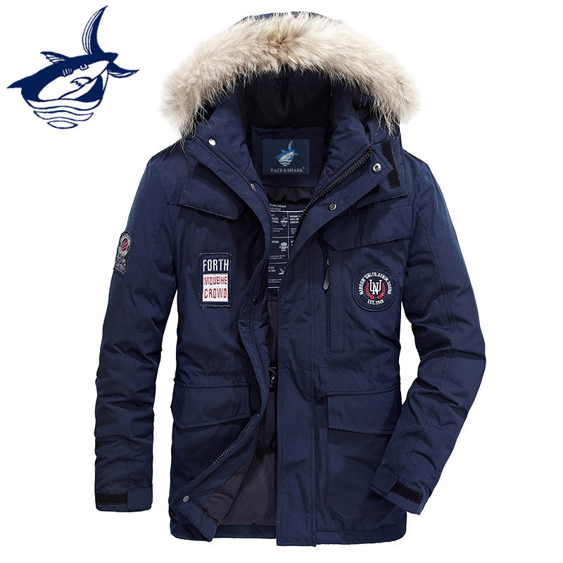 2018 Men's Winter Jacket Thicken Fur Collar Embroidery Windproof Hooded Tace & Shark White Duck   Down   Jacket Men   Down     Coats   men
