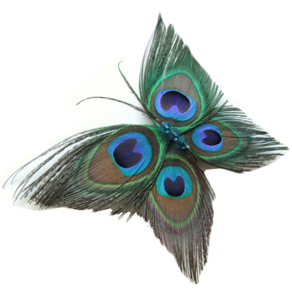 Peacock Feather Hair Clip Butterfly Stylish
