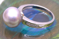 07305 bread lavender pink akoya pearl ring