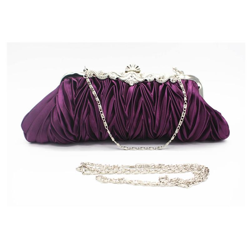 Gastvrij Plicated Clutch Tas Voor Vrouwen Vintage Diamanten Elegant Paars Bruiloft Tas Vrouwelijke Lange Solid Avond Party Bag Banket Tas Kortingen Sale