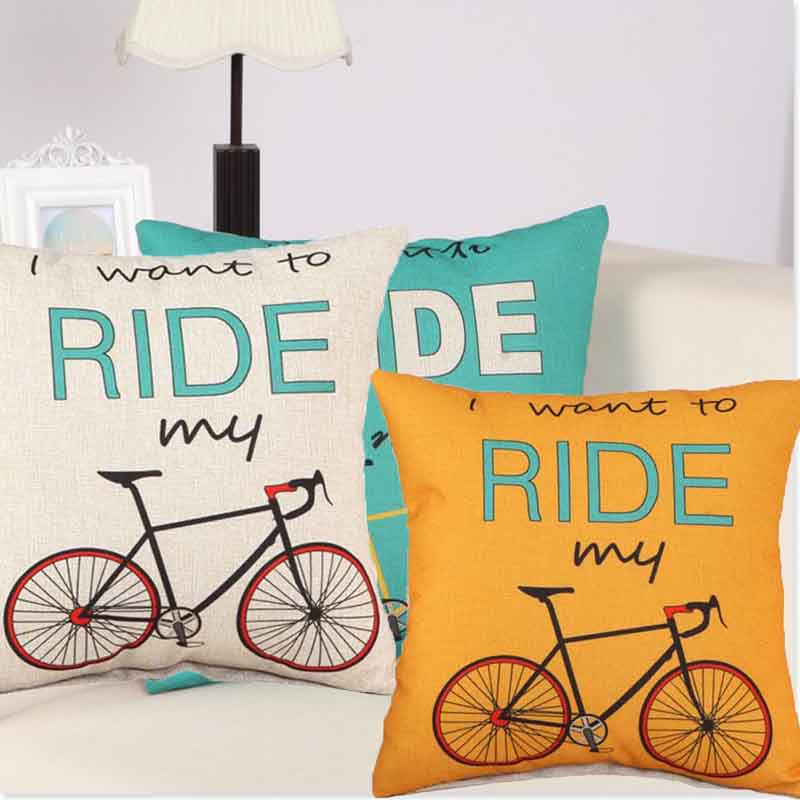 Sofa Decorative Cushion Throw Pillowcase 18 Vintage Cotton Linen Square Cute Pillow cover Bicycle Pattern