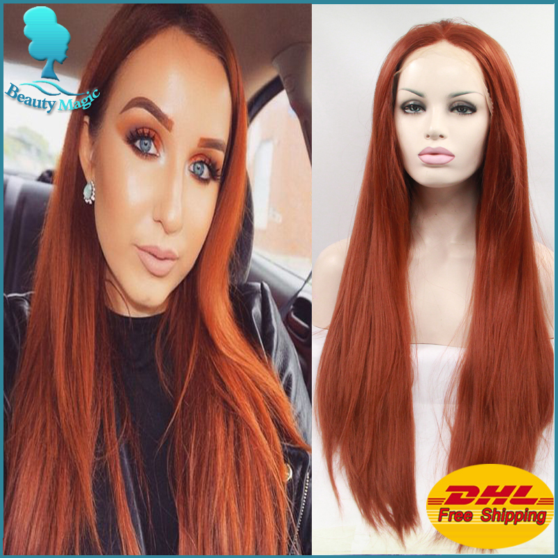 Brownish Red Wigs Long Straight Wine Red Hair Wigs Cheap Good Quality  Synthetic lace front Wigs For Sexy Women Long Red Wigs a18a61252