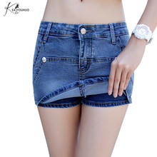 New 2017 Summer Denim Skirt Shorts Jeans For Women Plus Size 3XL Vintage Female Fashion High Waist Jeans Shorts Skirt Feminino