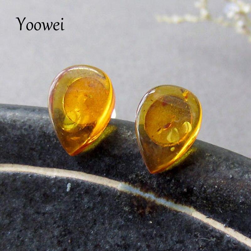 Yoowei Brand Wholesale Natural Amber Earrings Pure S925 Silver Jewelry Women Girl Trendy Gift Tiny Teardrop Cognac Stud Earrings