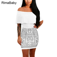 RlmaBaby Ruffles Rhinestone Off Shoulder Mini Dress 2017 Summer Backless Women Vestidos Night Club Party Black