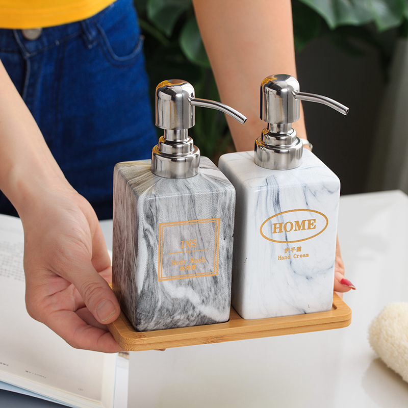 Ceramic Hand Washing Liquid Bottling with Wood Pad 3