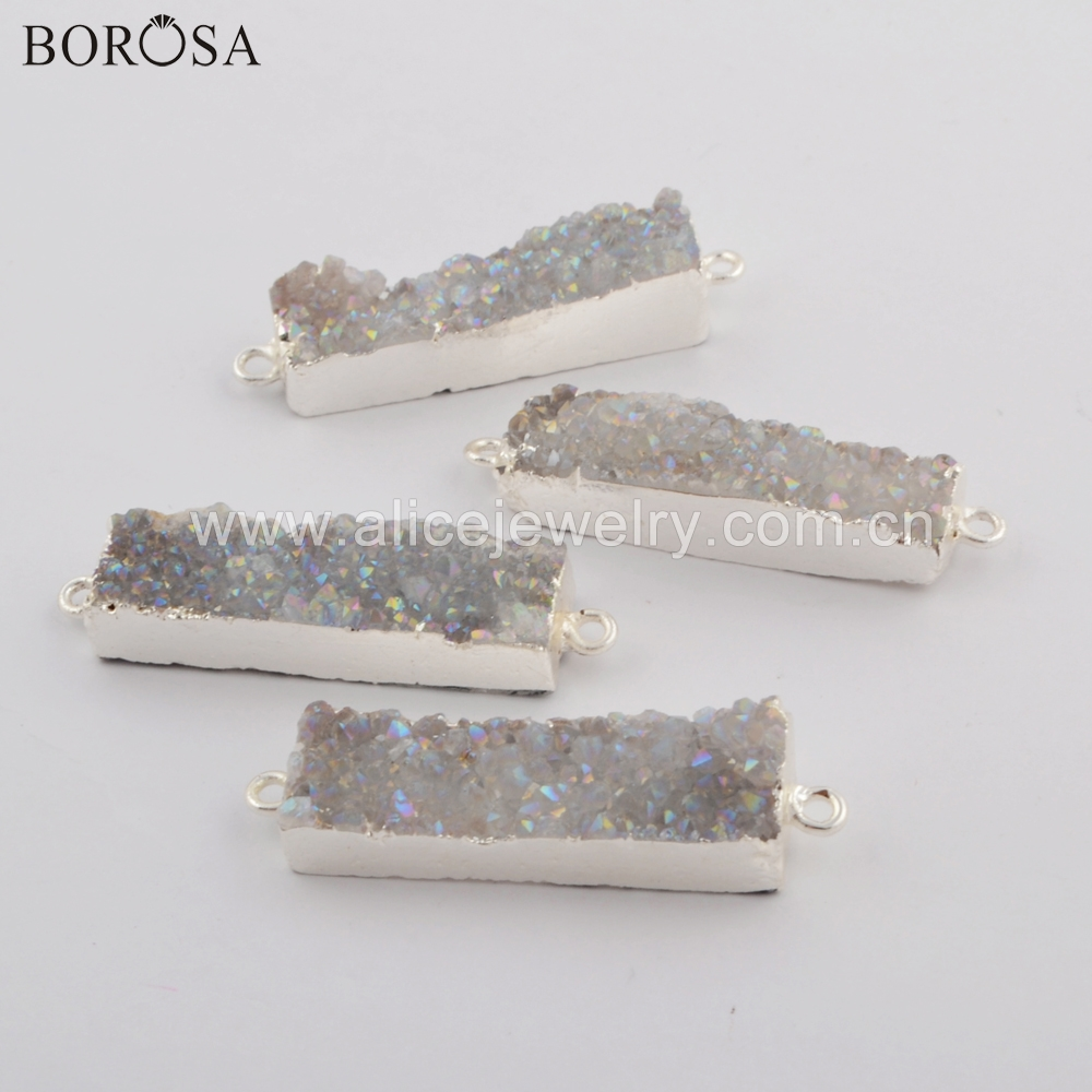 BOROSA 10PCS New Silver Rectangle Agates Druzy Connector Titanium AB Drusy Double Charms for Necklace for Bracelet Jewelry S0501-in Pendants from Jewelry & Accessories    1