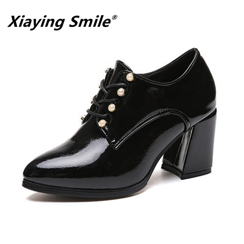 Xiaying Smile Women Heel Pumps New Fashion Casual Shoes Spring Autumn Classica Pointed Toe Lace Up Shoes Ladies String Bead ShoeXiaying Smile Women Heel Pumps New Fashion Casual Shoes Spring Autumn Classica Pointed Toe Lace Up Shoes Ladies String Bead Shoe