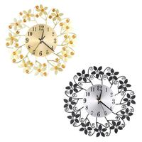 Retro Flower Creative Decorative Clock Metal Iron Art Wall Clock Retro Design The Clock On Wall Home Office Decor Supplies
