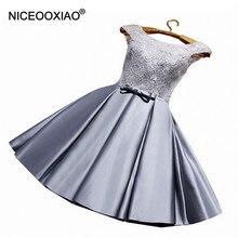 NICEOOXIAO новое платье для девочек с круглым вырезом Перспектива ремни вечернее платье Кружева блестками Короткие вечерние нарядное бальное платье плюс Размеры 90