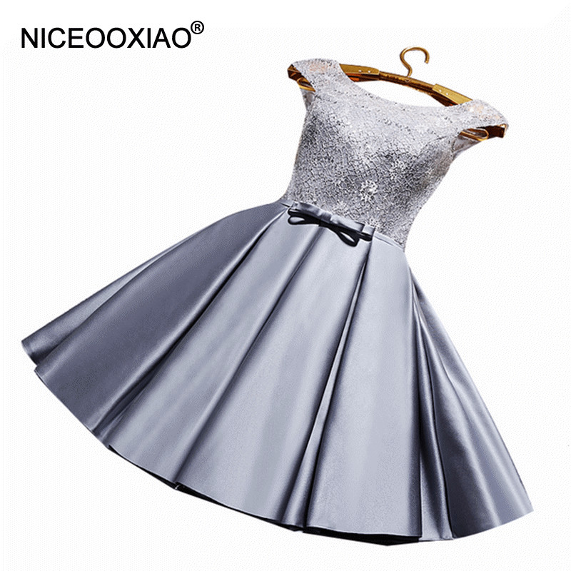 NICEOOXIAO  New Sister Dress O-neck Perspective Straps Evening Dress Lace Sequined Short Party Ball Gown Formal Dress Plus Size