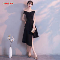 DongCMY Black Prom dress 2019 new arrival fashion Asymmetrical short Party Gown