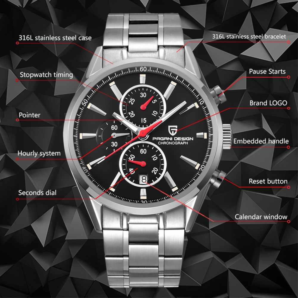 PAGANI עיצוב גברים שעונים למעלה מותג יוקרה נירוסטה ספורט שעון זכר קוורץ שעון יד גברים שעון relogio masculino 2018
