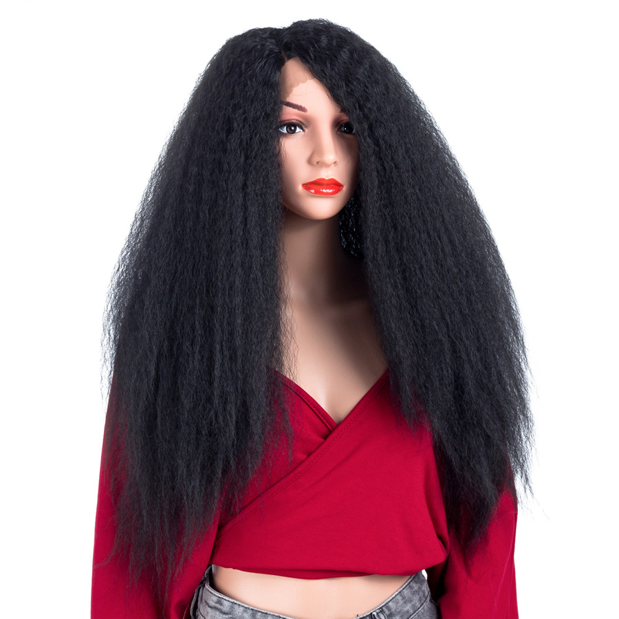 ELEGANT MUSES Hair Kinky Straight Black Color Synthetic Lace Front Hair Wigs 26High Temperature Fiber 150% Density Fluffy