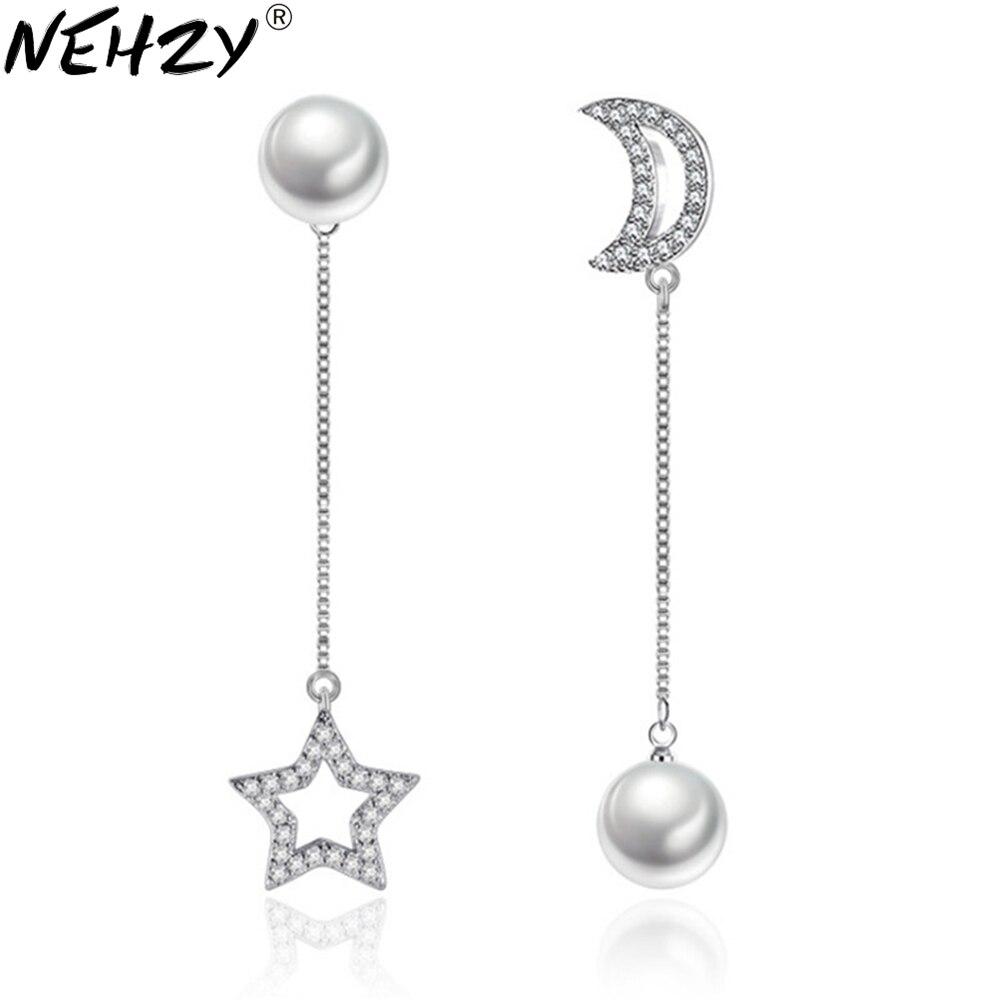 NEHZY Luna e le stelle perla Orecchini A Pendaglio marchio di Moda in argento gioielli esagerati lungo tratto di orecchini asimmetrici