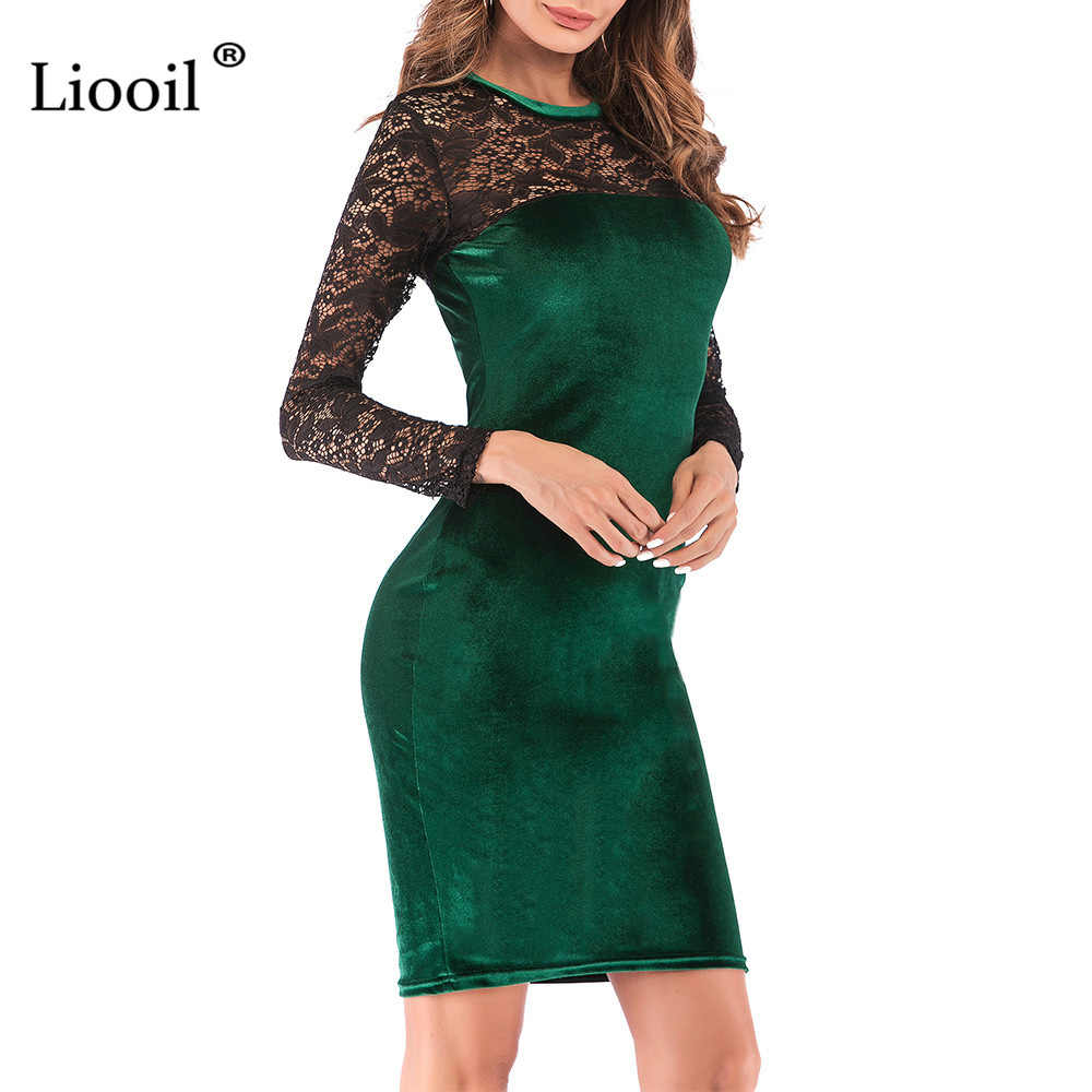 2fce34326538 ... Liooil Sexy Lace Velvet Christmas Dress Women New 2019 Spring Casual Womens  Clothing Red Green Black ...