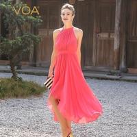 VOA Silk Beach Dresses Women Sweet Watermelon Pink Sleeveless Bohemian Long Dress Summer Sexy Halter High Waist Slim Tunic A5568