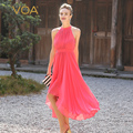 Voa seda rosa de la sandía sin mangas bohemio largo vestido dress summer 2017 recién llegado de graceful a5568