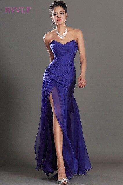Royal Blue Evening Dresses 2019 Mermaid V-neck Chiffon Slit Sexy Backless Long Evening Gown Prom Dresses Robe De Soiree