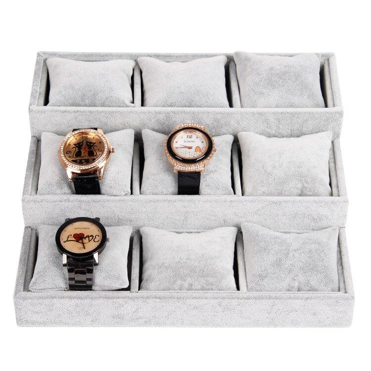 Wholesale High Quality Gray Ice Velvet font b Watch b font Bangle Bracelet Jewelry Display Tray