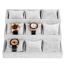 Wholesale High Quality Gray Ice Velvet Watch Bangle Bracelet Jewelry Display Tray Stand Holder With 9Pcs Pillow