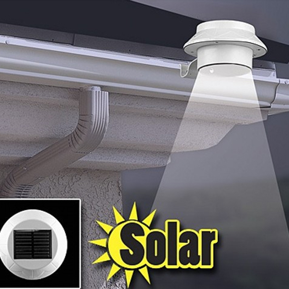 ჱOutdoor Solar Powered 3 LED Cool White/Warm White Light Fence ...