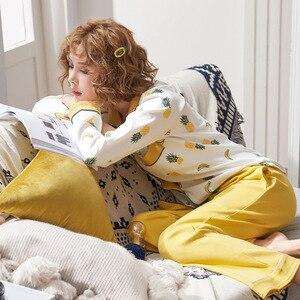 Image 3 - JULYS 歌女性の綿のパジャマセット春秋冬長袖パジャマ印刷パジャマ女性のための 2 個ホームウェア