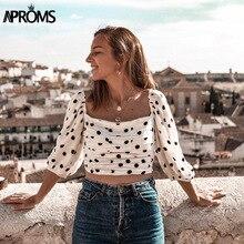 Aproms Elegant Polka Dot 3/4 Sleeve Cropped Blouse Shirt Women Summer Ruched Pleated Streetwear White Slim Crop Top blusas 2019 недорго, оригинальная цена