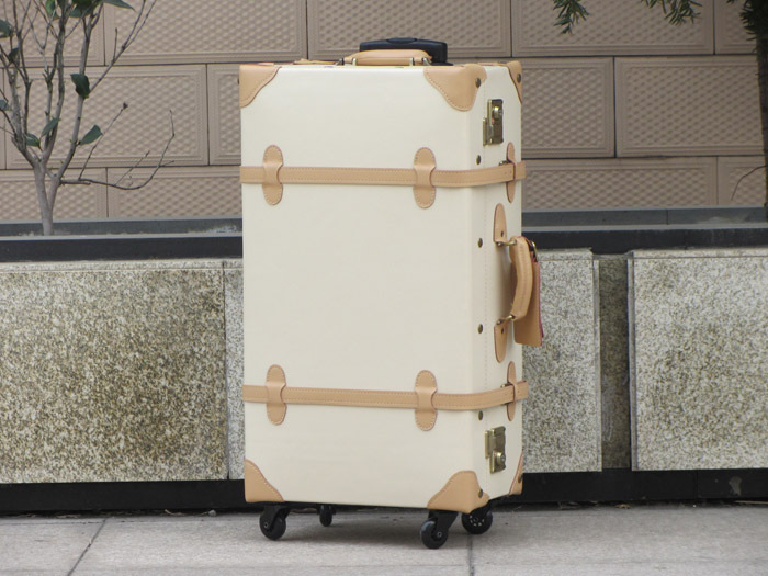 Aangepaste! Retro lederen trolley bagage tas, 17