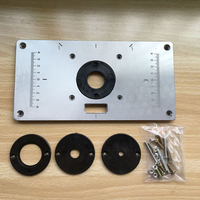 Aluminum Router Table Insert Plate W 4 Rings Screws For Woodworking Benches