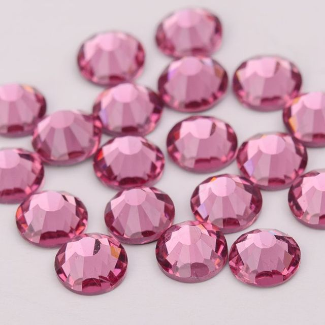 All Size Grade AAAAA Glass Strass Stones Pink Light Rose Fuchsia Nail Art  Crystal Glitter Flatback Rhinestone Hotfix For Clothes 9153db0a7d0a
