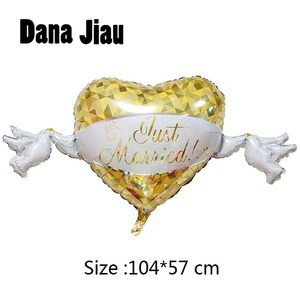 Yellow Heart Dove Loving Wedding Aluminum Foil Balloons Valentine's Day Diamond Ring Ball Party Decorations(China)