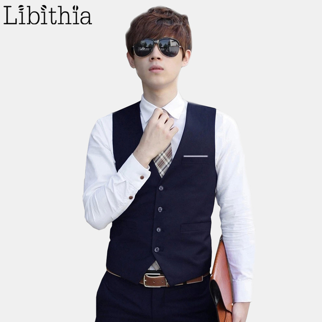 Men's Slim Fit Vest Waistcoat Male Suit Vest Social Clothes Wedding Formal Fashion Blue Black Grey Violet Wine Red White S312