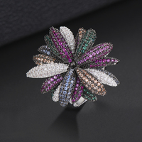 GODKI Famous Brand Luxury Fireworks Daisy Flowers Cubic Zironia CZ Ring For Women Wedding Dubai Unisex Bridal Finger Rings 2018