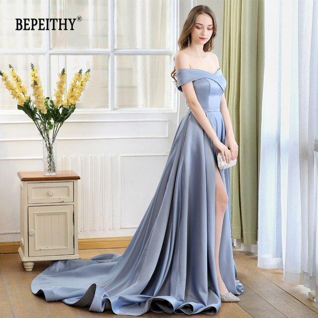 2019 BEPEITHY Abiye Long Tail Dress Off The Shoulder Evening Dress Party Elegant Robe De Soiree Sexy Prom Dresses High Slit