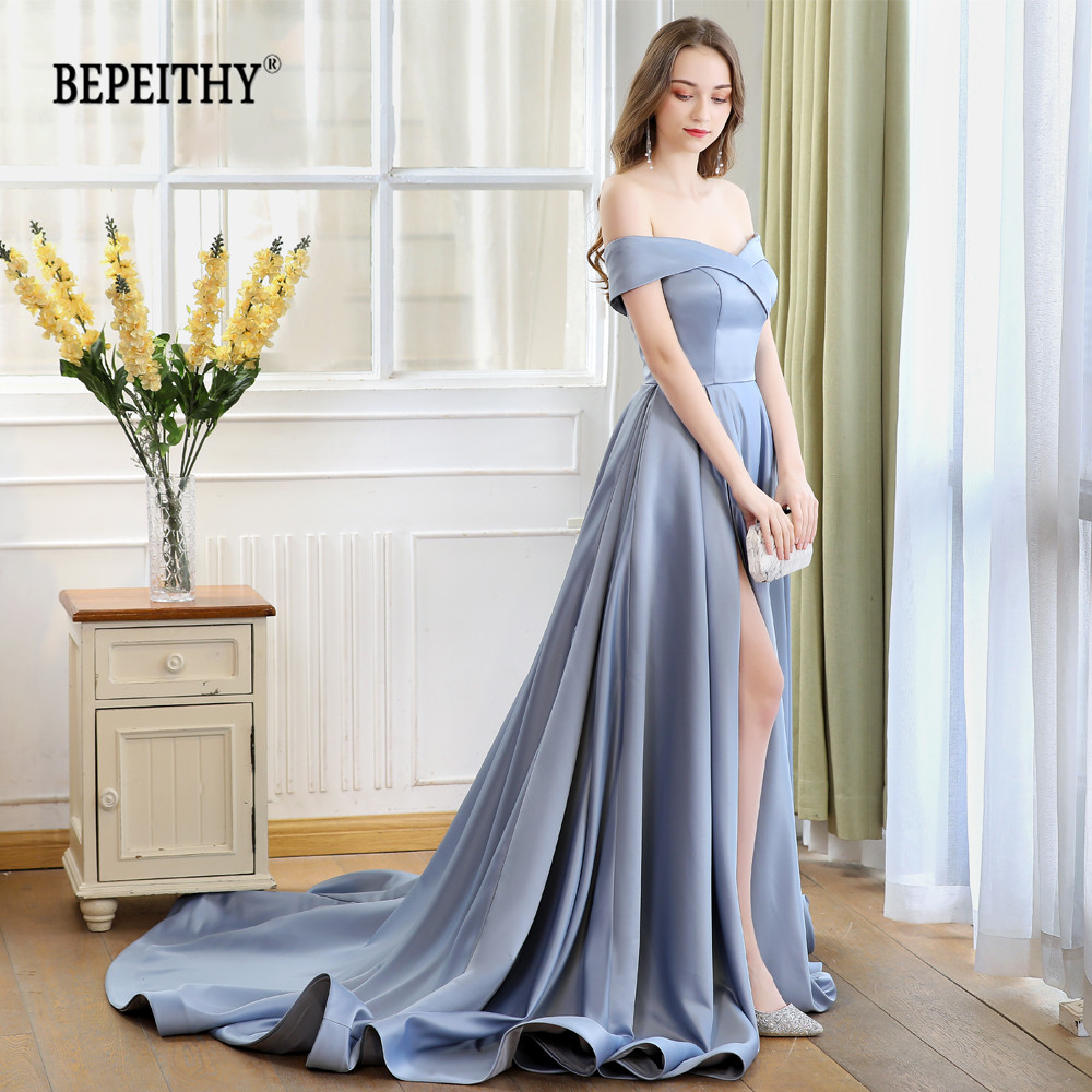 2019 BEPEITHY Abiye Long Tail Dress Off The Shoulder Evening Dress Party Elegant Robe De Soiree Sexy Prom Dresses High Slit