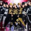 Frete grátis Hip Hop dança veste traje Popping traje preto de algodão camiseta Sequine Harem Pants superior e inferior para as mulheres miúdo