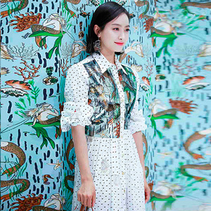Image 5 - XF 66 2018 Nieuwe Herfst Stijl Hoge Kwaliteit Fashion Designer Vintage Vrouwen Revers Lange Mouwen Pailletten Onderzeese Print Slanke Lange jurk