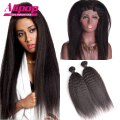 Cheap Pre Plucked 360 Lace Frontal With Bundle Malaysia Kinky Straight Human Hair 360 Lace Closure  360 Frontal With Bundles