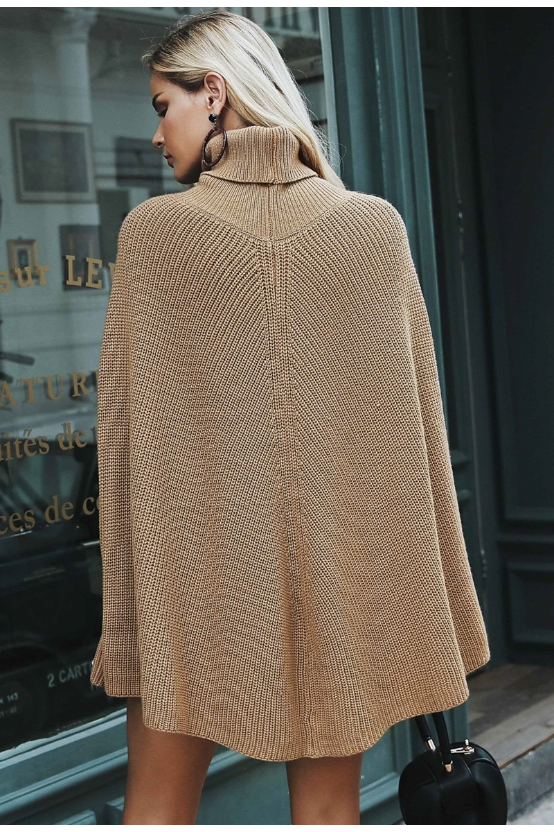Simplee Knitted turtleneck cloak sweater Women Camel casual pullover Autumn winter streetwear women sweaters and pullovers 2018