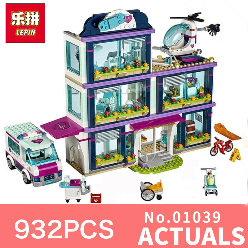 Lepin 01039 932Pcs The girls series Friends Heartlake Hospital Ambulance Block Set Olivia LegoINGlys 41318 for Girls Toy the food hospital