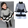 girl dresses autumn Kids girls bow dress solid color long-sleeved dress free shipping