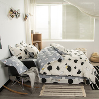 Svetanya綿ベッドリネン乳牛プリント寝具セット布団カバーセットフルクイーンキングサイズ用キッズティーン大人
