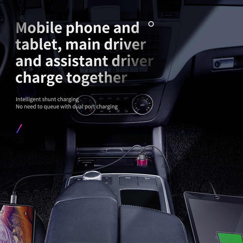 BASEUS LED 6A Quick Charge 4.0 USB 3.0 Car Charger สำหรับ Xiao Mi Mi 9 Huawei P30 PRO QC4.0 QC3.0 FAST PD รถชาร์จชาร์จโทรศัพท์