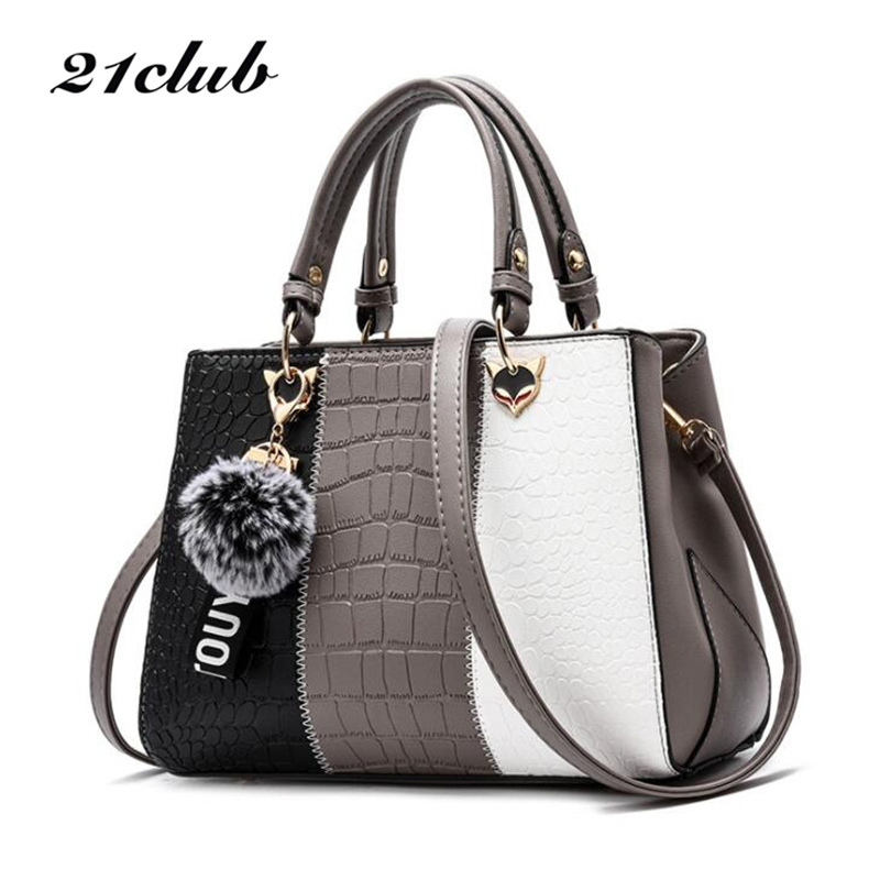 21club brand alligator casual hairball strap colorblock ladies totes shopping working purse women crossbody shoulder handbags
