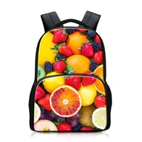 Dispalang Print Fruits Patterns On Backpack For Women Large Capacity Bags Apply To Students Design Your
