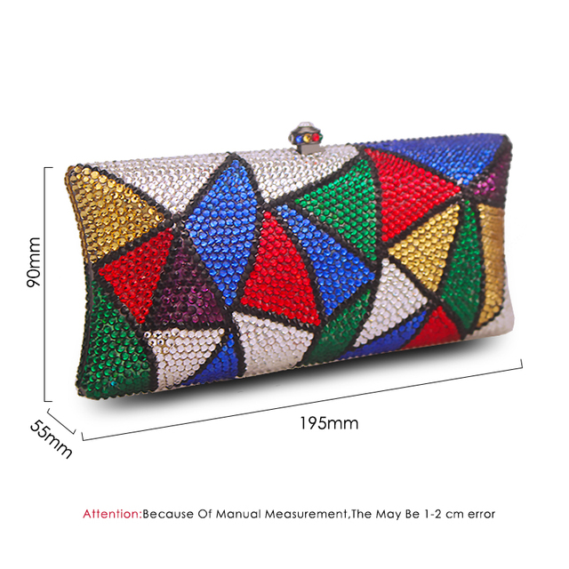 Multi Color Crystal  Luxury Diamond Plain Clutch  6