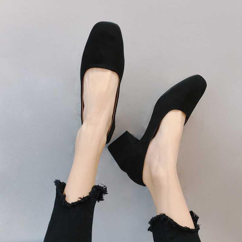 EOEODOIT Vierkante Teen Pompen Schoenen Vrouwen Lente Zomer Med Hak Slip Op Mode Vrouwelijke Pumps Schoenen 5 cm Hak